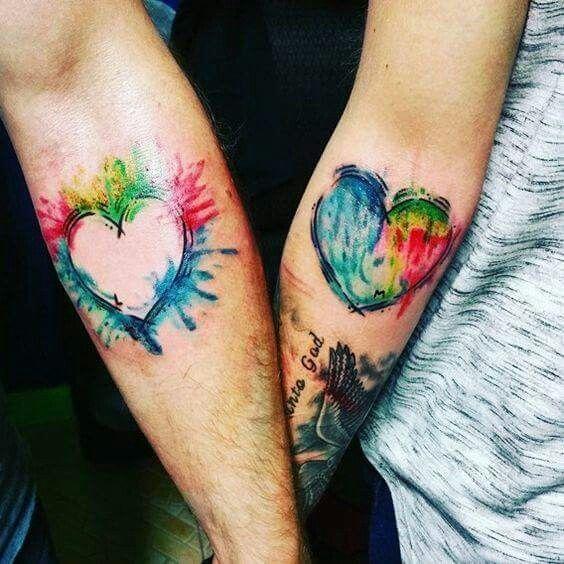 Paint Splatter Heart Tattoos