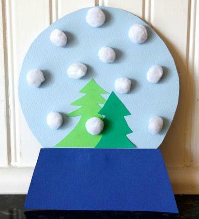 7 Snow Crafts to Make with Kids: Pom Pom Snow Globe