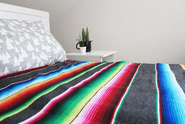 Edredones y patchwork - manta mexicana gris 220x150cm - hecho a mano por double-view en DaWanda