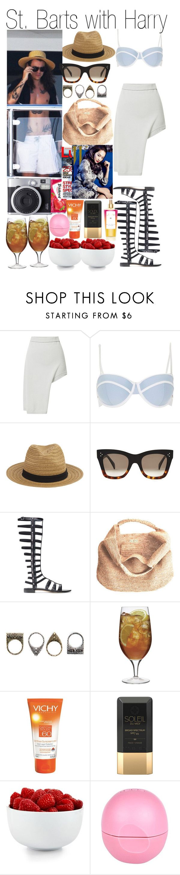 """St. Barts with Harry"" by kiksfashion ❤ liked on Polyvore featuring Opening Ceremony, River Island, CÉLINE, Stuart Weitzman, Flora Bella, Pull&Bear, Luigi Bormioli, Vichy, Soleil Toujours and Victoria's Secret"