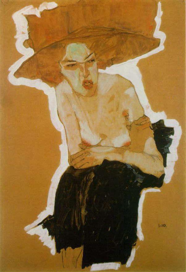 エゴン・シーレ 「人を軽蔑する女 」  1910 | 45 x 31.4 cm | 個人蔵