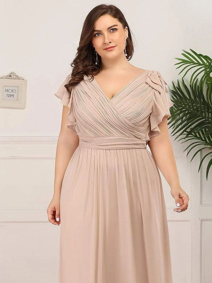 Plus Size Ruched Bodice Evening Dresses with Ruffles ...