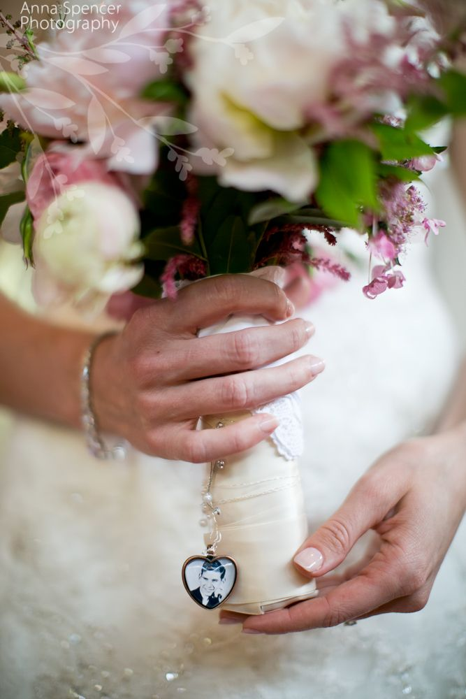 Anna and Spencer Photography, Bride's bouquet with memory charm. Faith Flowers Atlanta Florist.