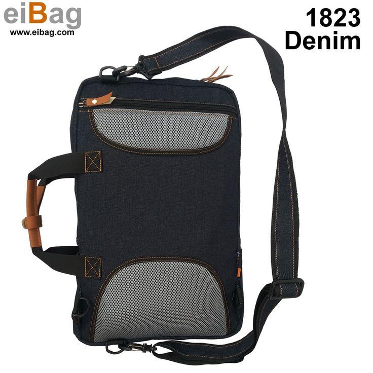 #tasdenim jual tas denim murah produk Bandung kode EIBAg 1823 model multifungsi untuk laptop 15 inch. Pada paket penjualan sudah termasuk free cover bag.