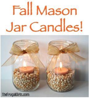 Lughnassadh Mason Jar Candles - corn kernels, tea lights & a ribbon! Imagine them lighting up the circle or table!