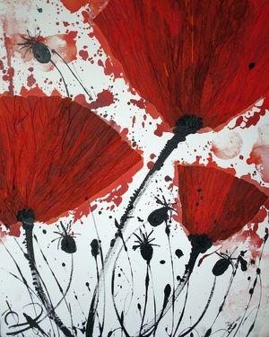 """Saatchi Online Artist Irina Rumyantseva; Mixed Media, """"Red Poppies"""" #art"""
