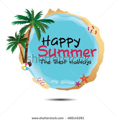 Happy summer logo with beach attribute. Summer illustration. Summer poster…
