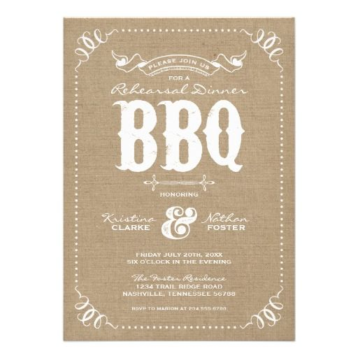 Modern vintage country chic wedding rehearsal dinner barbecue party invitation design with rustic elegant distressed typography and a cute dotted border with vintage scroll corner details on a printed faux burlap canvas texture background. Click the CUSTOMIZE IT button to customize fonts, move text around and create your own unique one-of-a-kind invitation design.