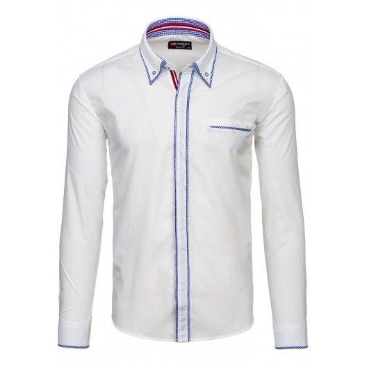 Pánska biela bavlnená košeľa s dlhým rukávom - fashionday.eu