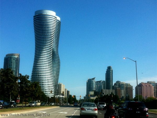 The Absolute Towers, Mississauga, Canada designed by MAD...The entire 56-story building rotates by different degrees at different level, which corresponds with sceneries at different height.