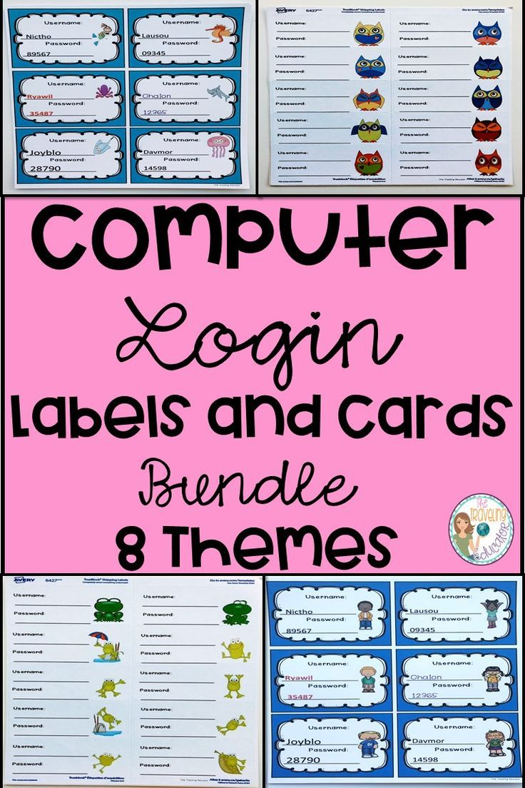 Computer Login Labels and Cards (Bundle) First grade