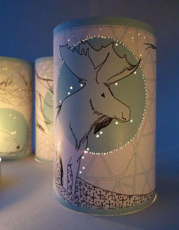 Kerstkaart Waxinelicht houder - Eland | **KERST** | Winkel van Papier