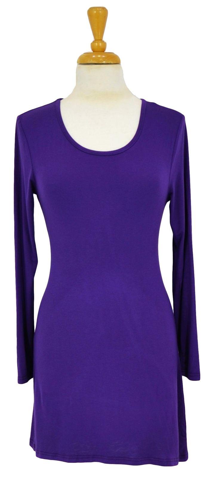 Purple Full Sleeve Basic ~ Best selection of Tunics & matching accessories ~ Flat postage worldwide ~ Petite to Plus sizes ~ www.ilovetunics.com