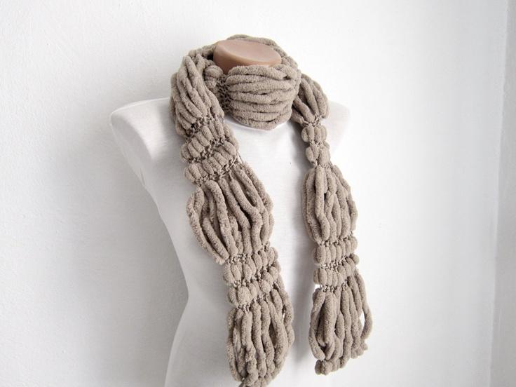 Hand knitting Long Scarf Mulberry Scarf Brown Pompom Fall by nurlu, $25.00
