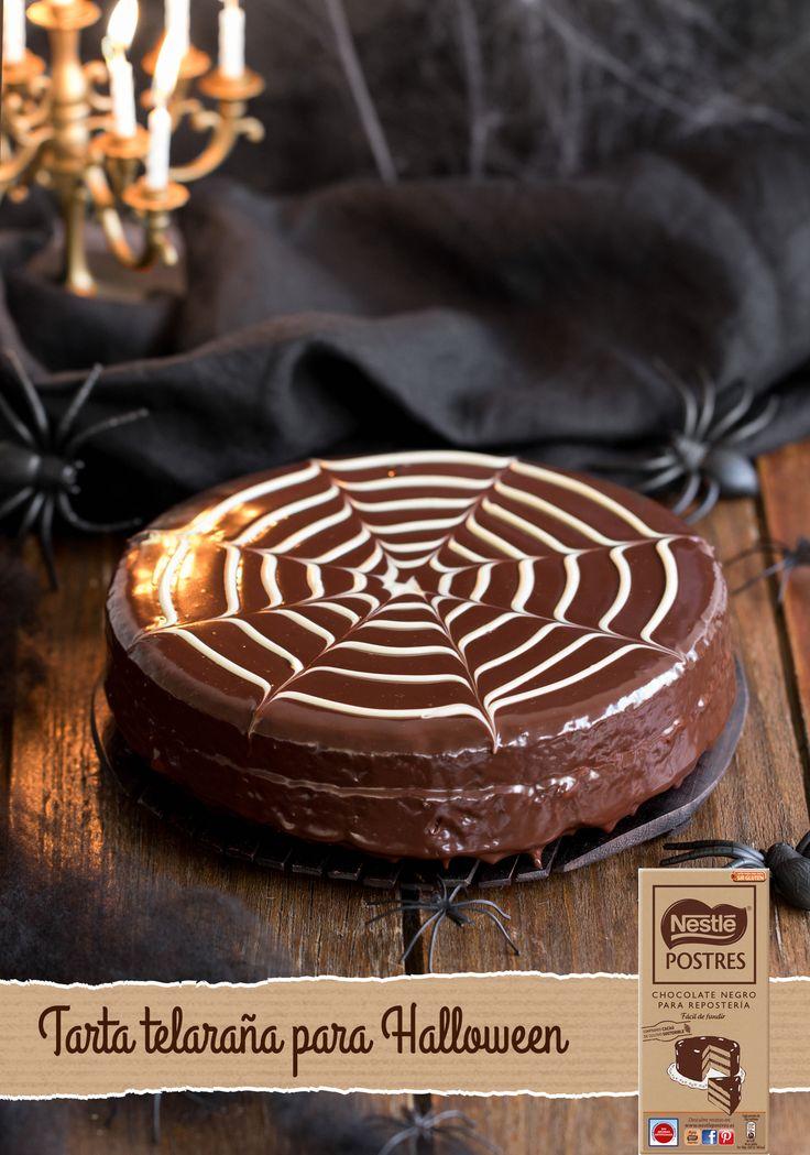 Tarta telaraña de chocolate para Halloween