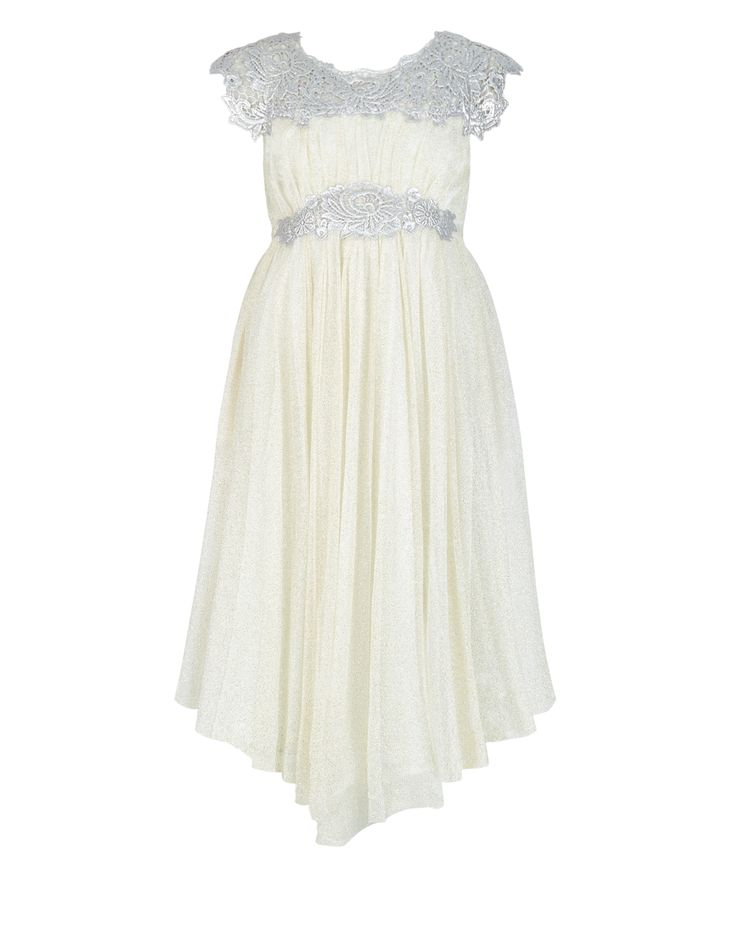 Our Odette maxi dress for girls will ensure she wows at weddings and special occasions. Fashioned from shimmering ivory net, it features foil-printed platinum lace panels at the yoke and waist, matt satin ties and a handkerchief hem. Fully lined with back zip fastening.