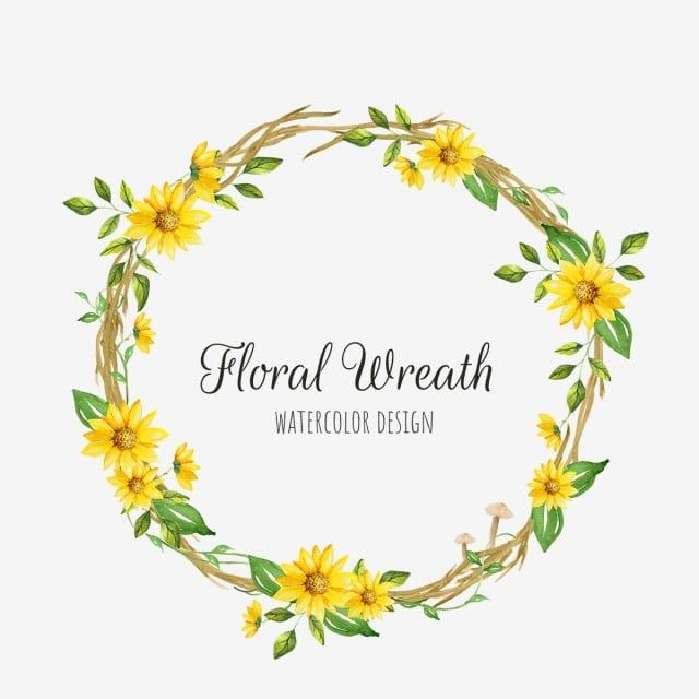 Yellow Floral Wreath Floral Clipart Png Wreath Png And Vector With Transparent Background For Free Download In 2021 Floral Wreath Watercolor Flower Wreath Illustration Wreath Watercolor