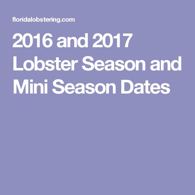 2016 and 2017 Lobster Season and Mini Season Dates