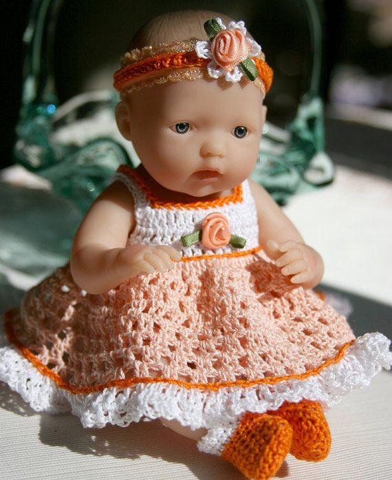 Crochet outfit Berenguer 7.5 or Circo 8 inch slim baby doll Sundress with full skirt Set Peach Orange White