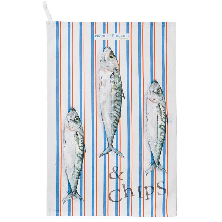 Nicole Phillips England artisan Fish and Chips Tea Towel (orange and blue stripe). Nicole Phillips designs and makes beautiful fine textile ranges that add accents of creativity and colour for your home and kitchen. Designed and made in England to the highest print and quality standards.  http://www.nicolephillips.com/collections/tea-towels/products/three-fish-and-chips-orange-blue-stripe-tea-towel #seafood