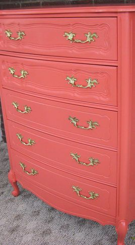 would he kill me if I painted a pop of coral on one of the 3 dressers?!? I have to break up those navy walls!