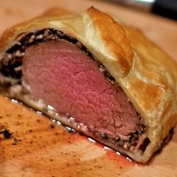 Beef Wellington cooked outside on the Big Green Egg