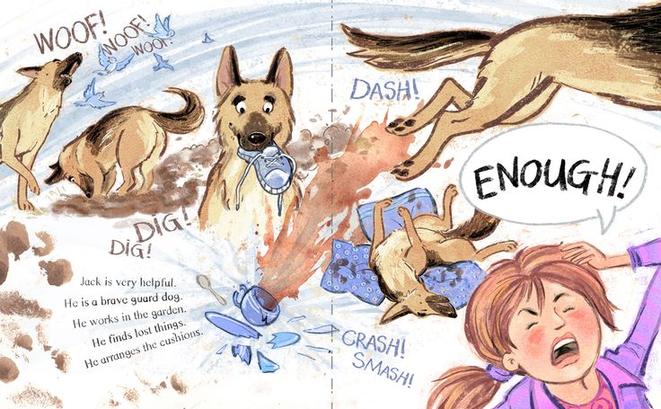 Pages 10 and 11 from our written and illustrated book. Timmy loves his best friend Jack, but Tim's Mum isn't so sure. Jack does doggy things that get him into trouble, much to Timmy's dismay, but in the end, he turns out to be a very good boy indeed!