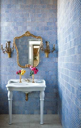 """Not too shabby: the """"cloakroom"""" (downstairs powder room/bathroom) in Château de la Goujeonnerie"""