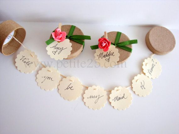 THREE (3) Secret Garland message in a box - Will you be my bridesmaid, bridesmaid invitation, maid of honor SET OF 3