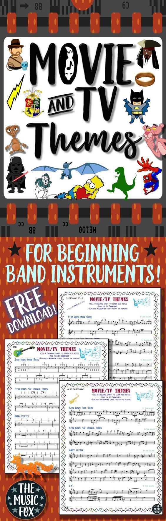 This free Movie & TV Themes packet includes melody excerpts from Star Wars, Harry Potter, How to Train Your Dragon, The Simpsons, The Pink Panther, Lord of the Rings, Spider-man, Batman, E.T., Indiana Jones, The Wizard of Oz, The Pirates of the Caribbean, and Jurassic Park. They are arranged for flutes, bells, tenor saxophone, alto saxophone, clarinet in Bb, trumpet, French horn and guitar tabs.