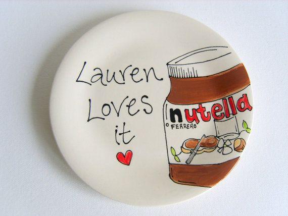 Personalised Nutella Plate by PurpleGlazePotteryUK