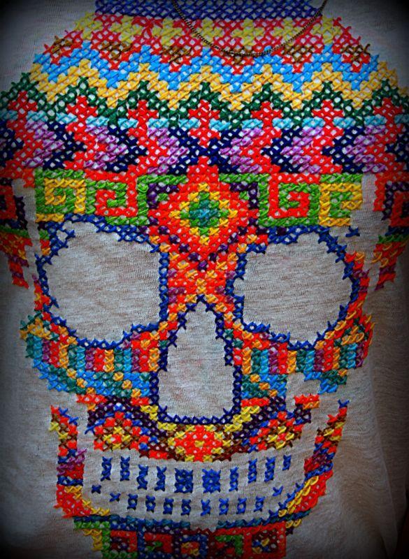 Cross Stitch Skull