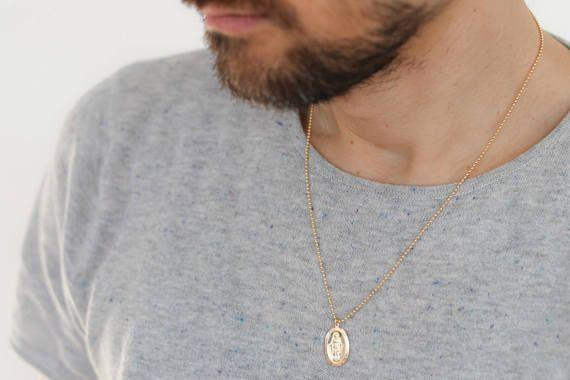 Unisex Necklace Gold Medallion Necklace Men S Gold Etsy Gold Chains For Men Gold Medallion Necklace Gold Necklace For Men
