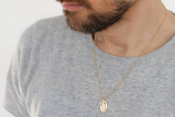 Unisex Necklace Gold Medallion Necklace Men S Gold Etsy Gold Necklace For Men Gold Medallion Necklace Gold Chains For Men