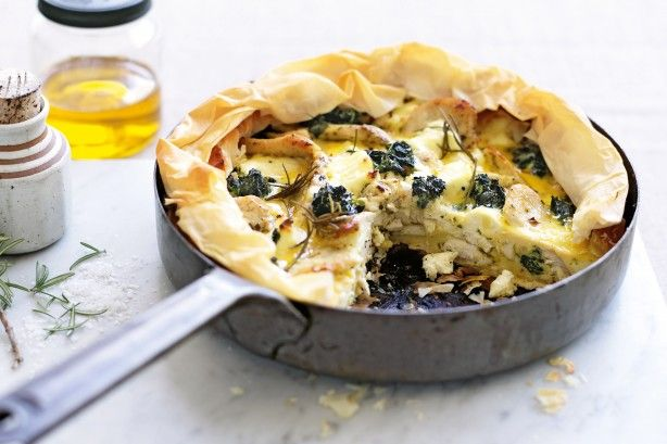 Chicken, spinach, ricotta and lemon pie