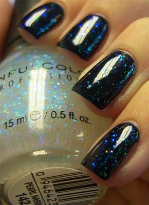 I did this a few weeks ago. Its even prettier in person!!!!....OPI's Russian navy polish with any Pearl over it
