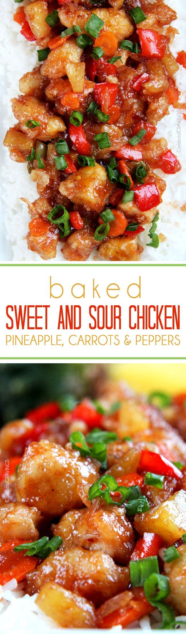 The BEST Sweet and Sour chicken - takeout OR homemade - I have ever had in my entire life! It is also baked with pineapple, carrots, onions and bell peppers all in ONE BAKING DISH! No need to stir fry extra veggies!