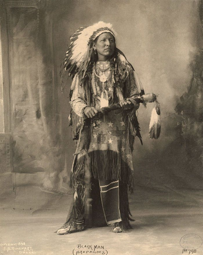 Black Man, Arapahoe - Cheyenne-Arapaho Lands of Oklahoma, Census of Arapahoe Indians: Cheyenne &  Arapaho Agency: Darlington, Indian Territory: 30 June 1887 Enumerated by G. D. Williams, U. S. Indian Agent:  Black Man Husband 30 - Crooked Star Daughter 8 - Bichea Wife 30 - Black Hat  (relationship unknown) 25 - Going in Water Daughter 1