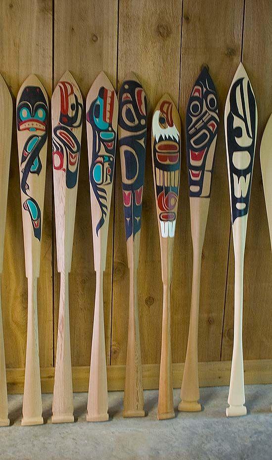 Haida paddle carvings from BC Canada