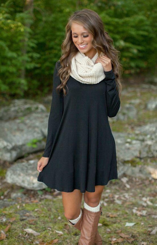 Fashion long-sleeved black loose dress  5775735