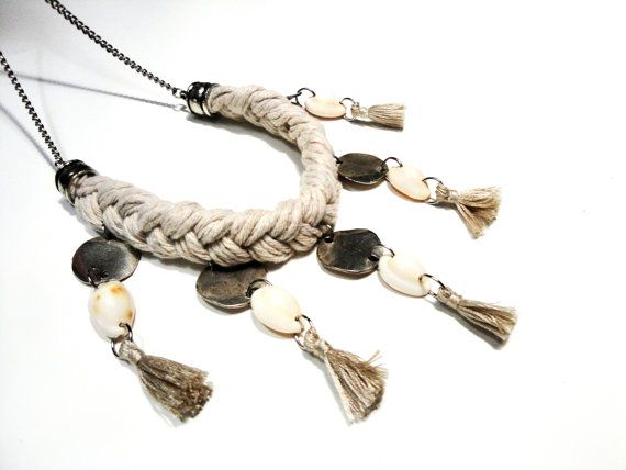 Boho necklace in braided twine and sea shells