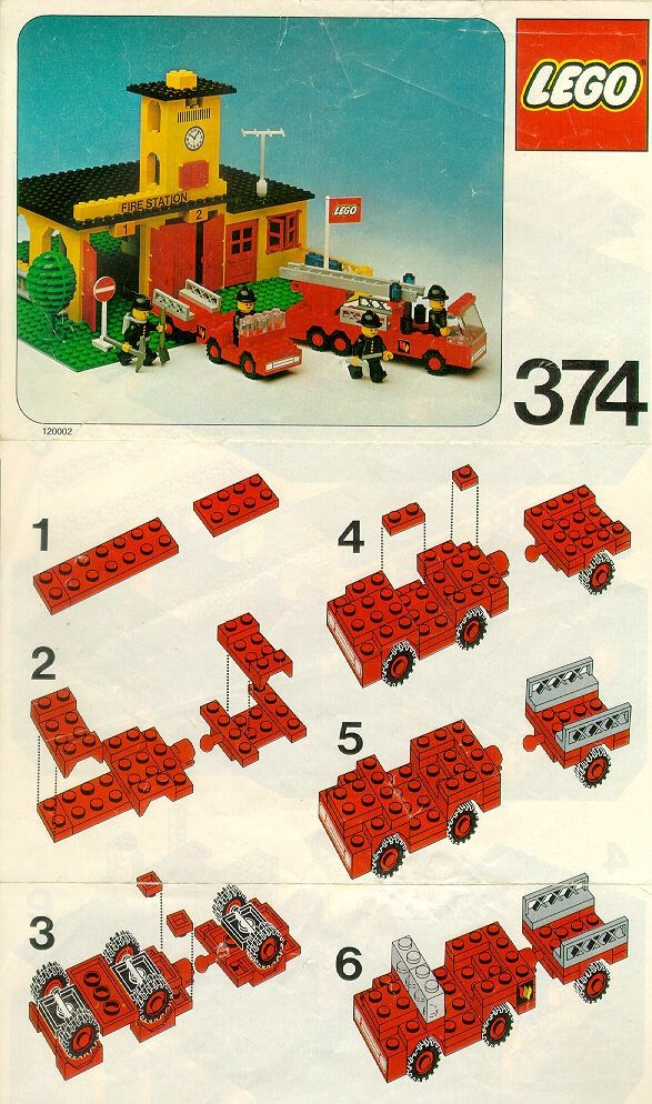 View LEGO instructions for Fire Station set number 374 to help you build these LEGO sets