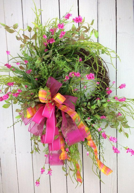 Pink Wild flower WreathDoor wreath Double Door by Keleas on Etsy