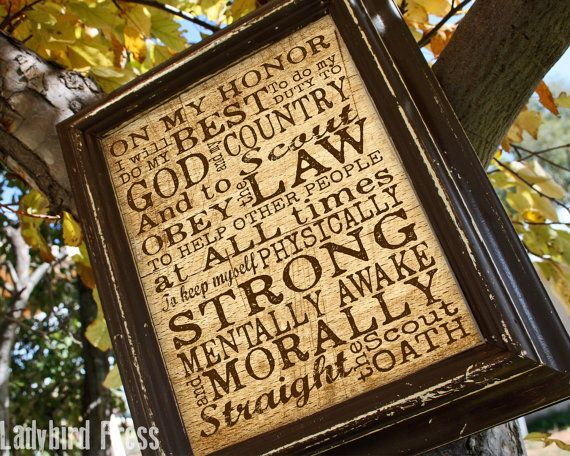 Printable Boy Scout Oath Print Court of Honor  by LadybirdPress