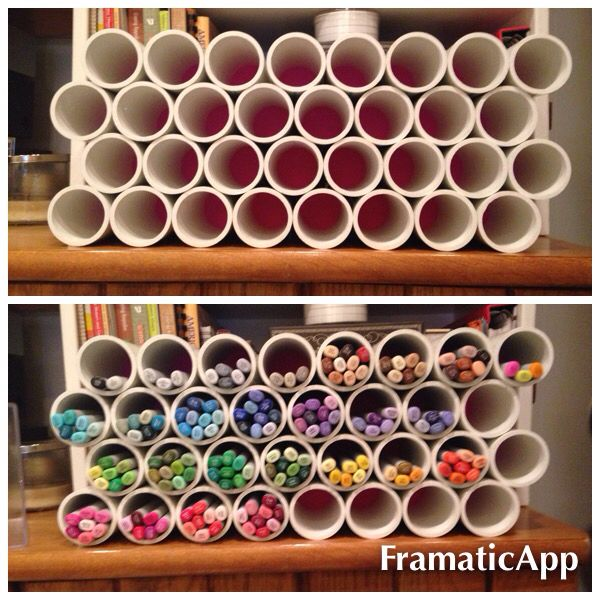 Copic pen holder made with pvc pipe and a hot glue gun. Recycle paper towel rolls?