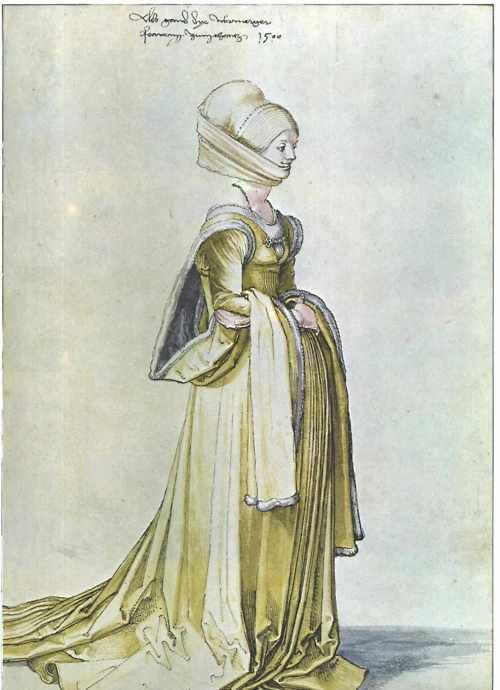 A drawing by Albrecht Duerer of a woman in dancing (!) dress, 1500 Germany
