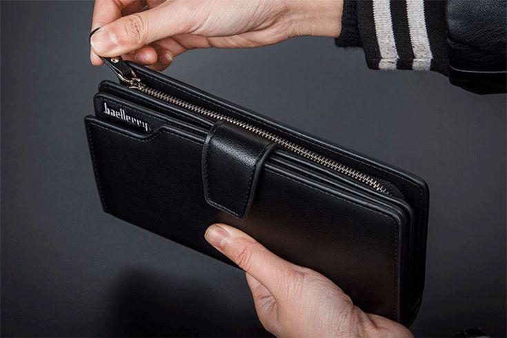 Мужское портмоне Baellerry Business из экокожи черный и коричневый
