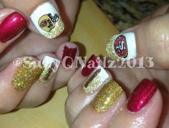 49ers Nails #49ers #nails #nailart #gelpolish