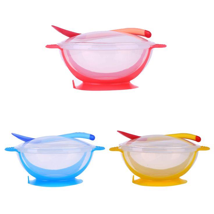 3 Pcs/set Bayi Peralatan Makan Makan Hisap Mangkuk dengan Suhu Penginderaan Sendok Makan Bayi Mangkuk