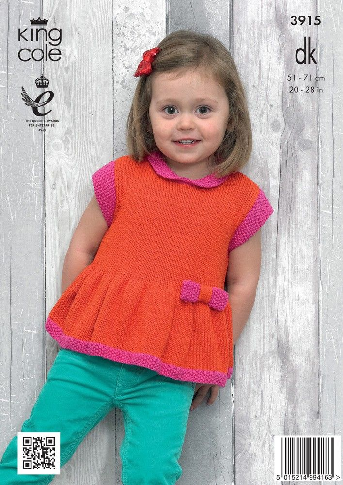 Girls' Peplum Top in King Cole Bamboo Cotton DK - 3915